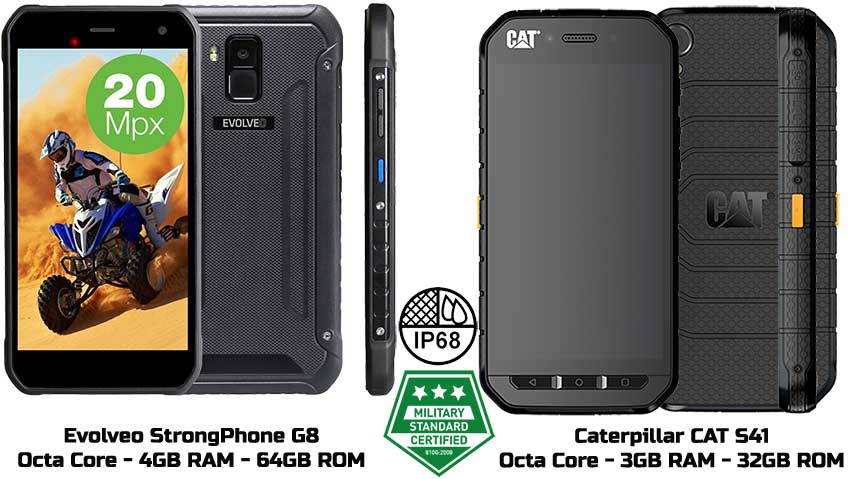 Comparativa móviles CAT S41 y Evolveo StrongPhone G8